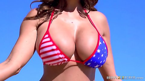 big boobies milf outdoors with oil Ava Addams