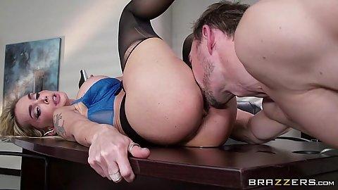 Eaten out Devon wearing her nylon open crotch stockings in office