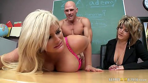Blonde Julie Cash gets disciplined with teacher observing