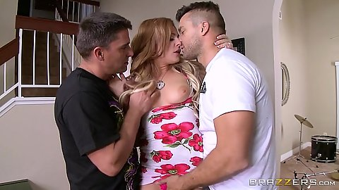 Turned on blonde Dahlia Sky engages in threesome