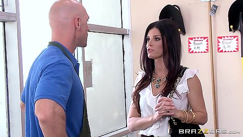 Fully clothed babe milf India Summer goes down to suck the hardware store clerk