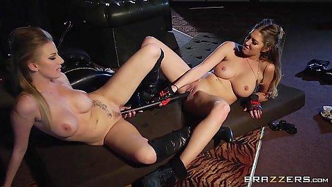 Lesbian double sided dildo fucking lesbian chicks Lexi Lowe and Danielle Maye