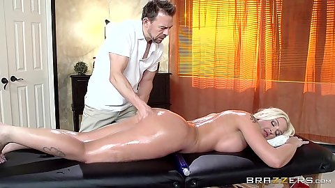 Oil massage with enticing Leya Falcon enjoying an ass fingering also