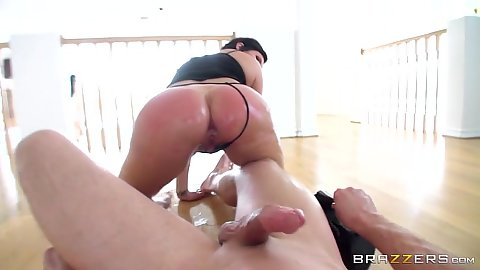 Reverse cowgirl oil butt anal intercourse with big wet butt Shay Fox