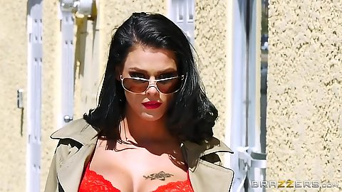 Peta Jensen heads outdoors in public wearing sexy bright red lingerie