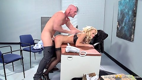 Slammed from behind in standing position with boss lady Alix Lynx