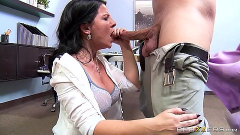 Office milf blowjob with inviting Casey Cumz wearing a nice mini skirt