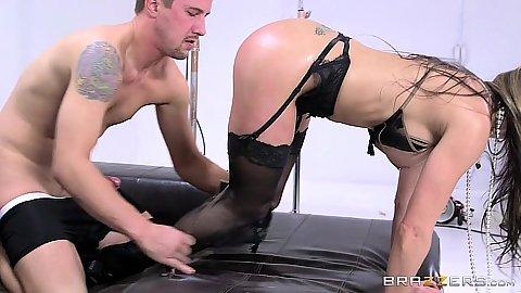Slender stockings pornstar Rachel RoXXX slammed from behind