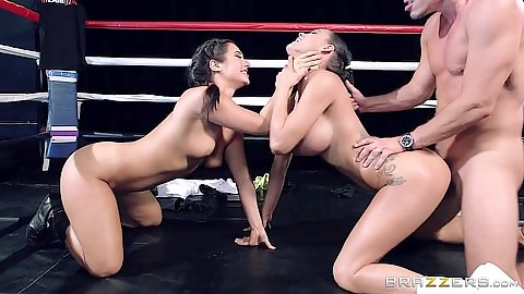 Sporty girls boxing ring fuck from arousing asian and latina Peta Jensen and Eva Lovia