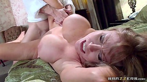 Cougar milf busty Darla Crane slammed on her bed