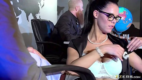 Brunette big tits Peta Jensen sucking dick in the office