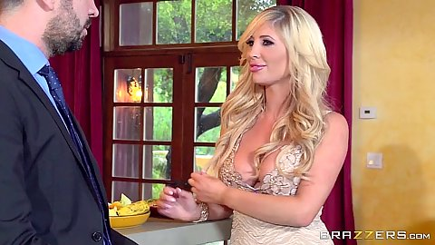 Blonde fully clothed Tasha Reign doing a nice dressed blowjob