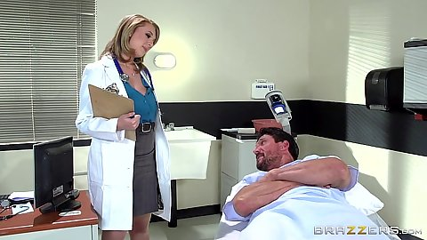 Doctor visiting patient Brooke Wylde sees his boner