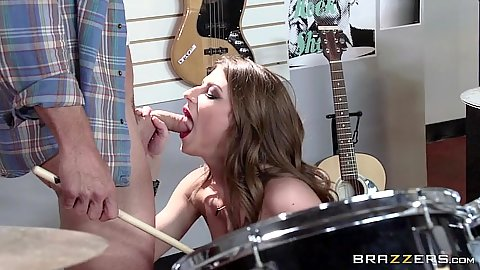 Naked chick sucks off the musician store clerk Dillion Carter