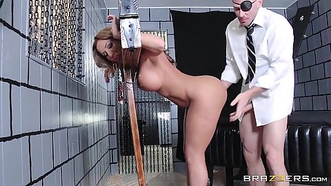 Construction Richelle Ryan got bondaged by a medieval bondage device