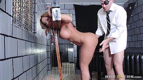 Construction Richelle Ryan got bondaged by a medieval bondage device