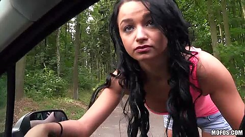 Lost college Daphne Klyde got picked up on road and quite happy to show boobs