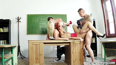 Redhead and blonde school class fuck from euro Diana Dali and Aylin Diamond