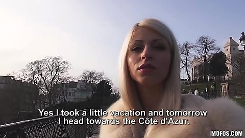 Blonde Chloe Lacourt outdoor public pick up for some money and flashing