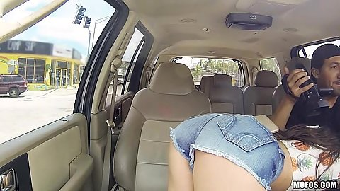 Car driving blowjob with nice ass teen Lucy Doll