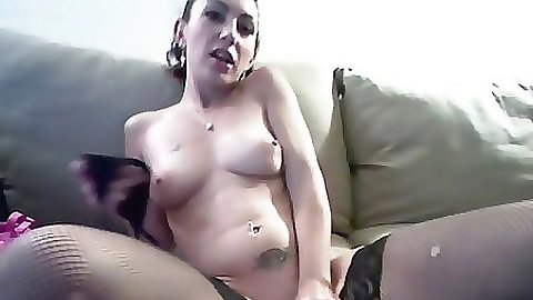 Chick puts her panties inside her pussy hole