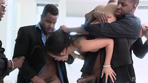 Black cock asian milf gangsta gang bang with huge black dicks Asa Akira