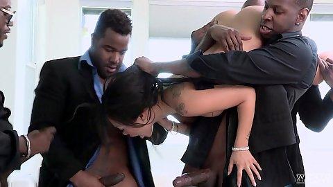 Black cock asian milf gangsta gang bang with huge black dicks Asa Akira