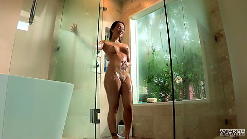 Lecherous asian Asa Akira taking a shower
