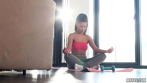 Doing some yoga medication with yoga pants chick Apolonia