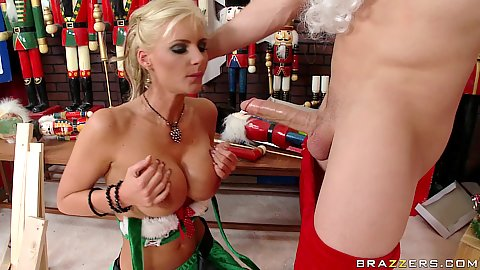 Sexy santas big tits little helper sucking him off