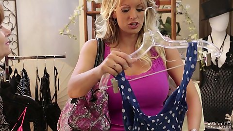 Angelic pornstar babe Stormy Daniels is picking out some sex clothes