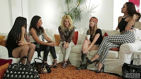 Group lesbian gathering with jessica drake and Katrina Jade and Vicki Chase