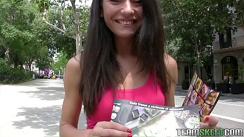 Brunette Nataly Gold picked up in public for some money