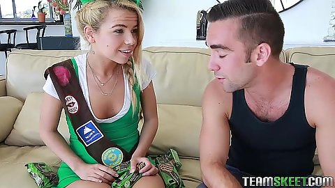 Skinny blonde teen Alina West wearing her girl scout uniform