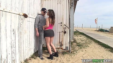 Latina teen Julia Roca finding a place to hide in public to suck off dick