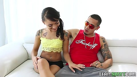 Petite teen Holly Hendrix brough home for a quick suck