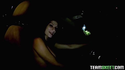 Night time driving and topless chick Dillion Carter