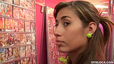 Latina teen Andrea Ramos going to sex store to get some toys