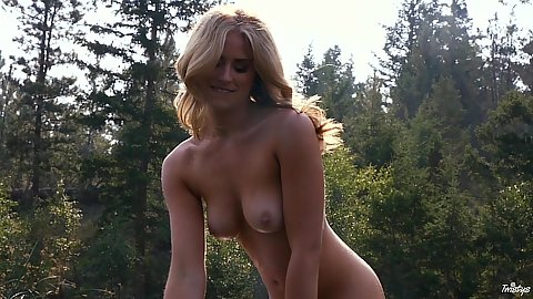 Outdoors in nature naked girl Maya Rae roaming around