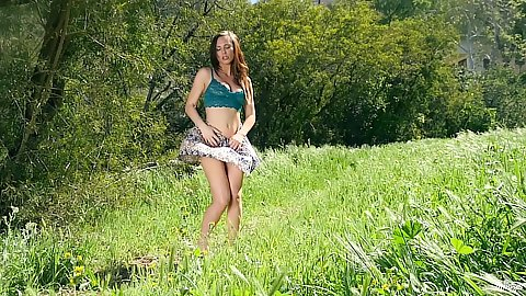 Outdoor erotic Aidra Fox striping and revealing perfect tits