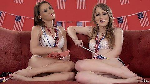 Teasing lesbian babes Alaina Fox and Celeste Star