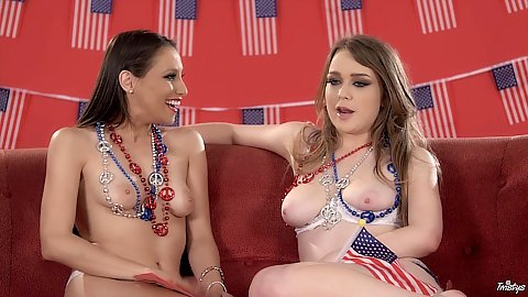 Alaina Fox and Celeste Star behind the scenes topless babe interview