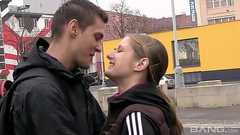 Kissing with Jennifer Amton outdoors on europe public streets