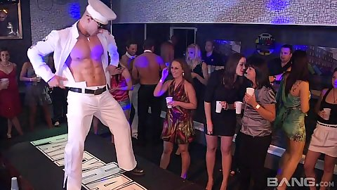 Male stripper is entertaining these fine aroused ladies