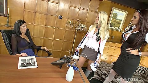 Miniskirt office lesbian threesome wives Sammy Jayne and Porsha Blaze and Ella Mai