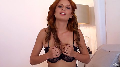 Insatiable solo redhead Ashlee Graham and her stockings on the bed