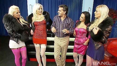 Group of footballer wives with milfs Eva May and Valerie Fox and Antonia Deona