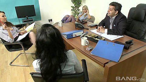 Tommie Jo and Tiffany James with Stacey Lacey fully clothed office orgy