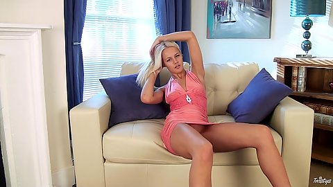 Refined solo blonde chick Evelyn not wearing any panties under dress