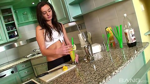 Solo teen  making herself something in the kitchen